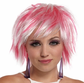 Punky Pixie Wig White-hot Pink Costume