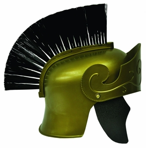 Roman Helmet Gd W Black Brush Costume