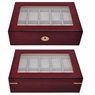 Rosewood Matte Stain Glass Top Wooden 10 Watch Display Case