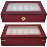 Rosewood Matte Stain Glass Top Wooden 12 Watch Display Case
