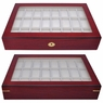 Rosewood Matte Stain Glass Top Wooden 24 Watch Display Case