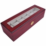Rosewood Matte Stain Glass Top Wooden 6 Watch Display Case