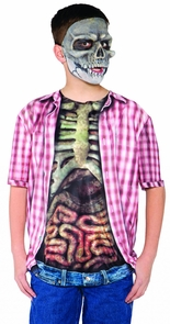 Skeleton W Guts Shirt Child Lg Costume