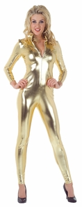 Stretch Jumpsuit Gold Small Costume
