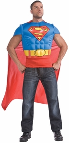 Superman Muscle Shirt Cape Adt Costume