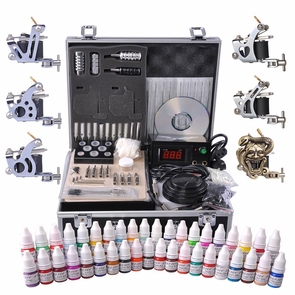 Tattoo Kit 6 Machine LCD Power Supply 40 Ink w/ Case