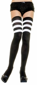 Thigh High Knit Blk W Wht Strp Costume