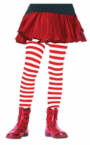 Tights Chld Striped Wt/rd 7-10 Costume