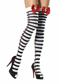 Tights Nyln Striped Poker Suit Costume