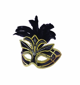 Ven Mask Black W Feathers Costume