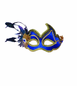 Ven Mask Blue W Feathers Costume