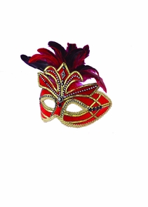 Ven Mask Red W Feathers Costume