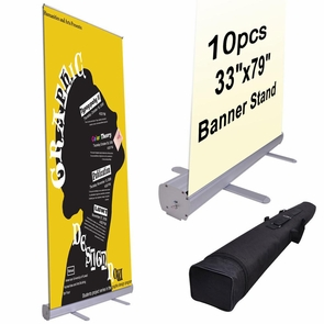 "Wholesale 10pcs 33"" x 79"" Rollup Retractable Banner Stands"