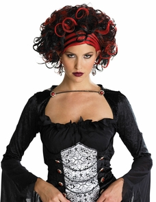 Wicked Widow Wig Black/red Costume