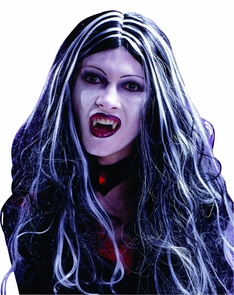 Wig 30in Curly Vamp Blk Wht Costume