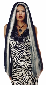 Wig 36 Inch Long Wht Streaked Costume