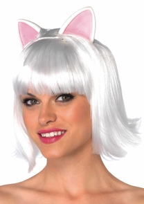 Wig Kitty Bob Adult White Costume