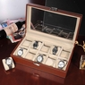 XL 10 Slots Leather Watch Display Case Jewelry Box Brown