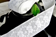 "1-7/8"" White Vintage Floral Stretch Lace Trim"