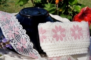 "2-1/2"" Ivory Dusty Rose Floral Vintage Lace Trim"