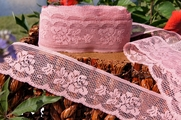 "2-1/4""  Dusty Rose Vintage Floral Lace Trim"