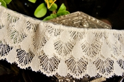 "2-1/4"" Light Beige Vintage Double Layer Ruffled Lace Trim"