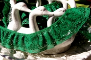 """2"""" Green Double Layer Vintage Ruffled Lace Trim"""