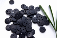 "2 Hole Black Buttons 1/2"" inch (15 pcs)"