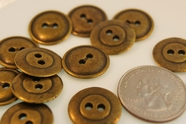"2 Hole Gold Metal Vintage Fashion Buttons 11/16"" inch (10 pcs)"