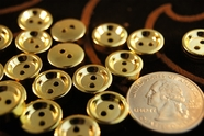 "2 Hole Plastic Gold Buttons 1/2"" inch (15 pcs)"
