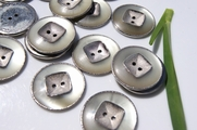 "2 Hole Silver Vintage Fashion Buttons 1 1/8"" inch (10 pcs)"