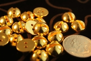 "2 Hole Vintage Fashion Dome Gold Buttons 3/16"" inch (12 pcs)"
