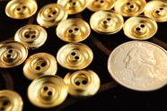 "2 Hole Vintage Gold Metal Shirt Buttons 3/16"" inch (12 pcs)"