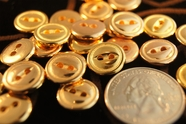 "2 Hole Vintage Gold Shirt Buttons 1/2"" inch (15 pcs)"