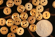 "2 Hole Vintage Gold Shirt Buttons 7/16"" inch (15 pcs)"