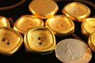 "2 Hole Vintage Metallic Gold Buttons 7/8"" inch (10 pcs)"