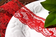 "2"" Red Floral Lace Trim"