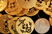 """4 Hole Anchor Gold Vintage Buttons 1 1/8"""" inch (10 pcs)"""