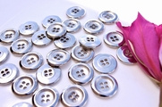 "4 Hole Silver Metal Vintage Buttons 3/4"" inch (10 pcs)"