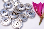 "4 Hole Vintage Silver Metal Buttons 1 1/8"" inch (6 pcs)"