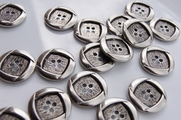 "4 Hole Vintage Silver Metal Buttons 7/8"" inch (8 pcs)"