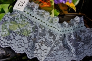 "5"" Grey Blue Vintage Floral Ruffled Lace Trim"