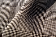 Black Beige Blend Wool Suiting Houndstooth Glen Plaid Fabric WL-42