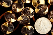 "Black & Gold Metallic Vintage Shank Fashion Buttons 3/4"" (12 pcs)"