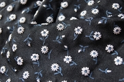 White Flower Black Stretch Slinky Knit Prints Fabric
