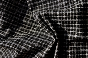 Black & White Stretch Crepe Check Fabric