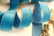 Crystal Blue French Velvet Dress Ribbon 22mm