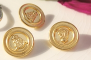 """Vintage Shank Embossed Crown Gold Metal Buttons 7/8"""" inch (10 pcs)"""