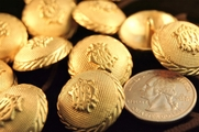 "Embossed Gold Metal Blazer Vintage Shank Buttons 7/8"" inch (6 pcs)"