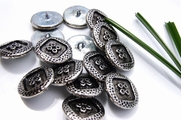 "Embossed Vintage Silver Metal Antique Shank Buttons 7/8"" (10 pcs)"